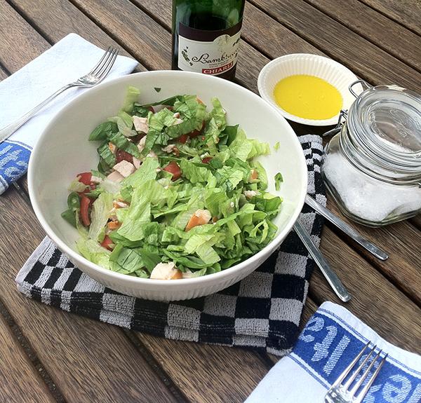 Salade-gerookte-kip-met-olijfolie