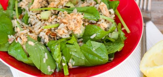 Zalm-rijstsalade met spinazie