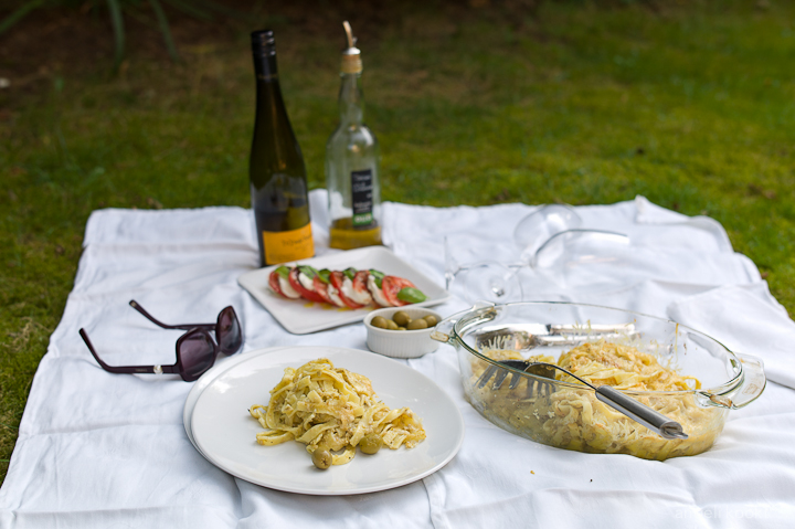 Pasta met olijven en kaas