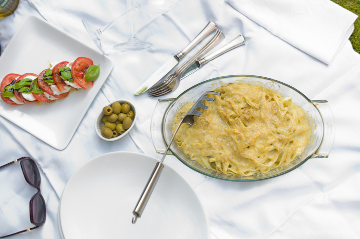 Pasta met kaas en olijven