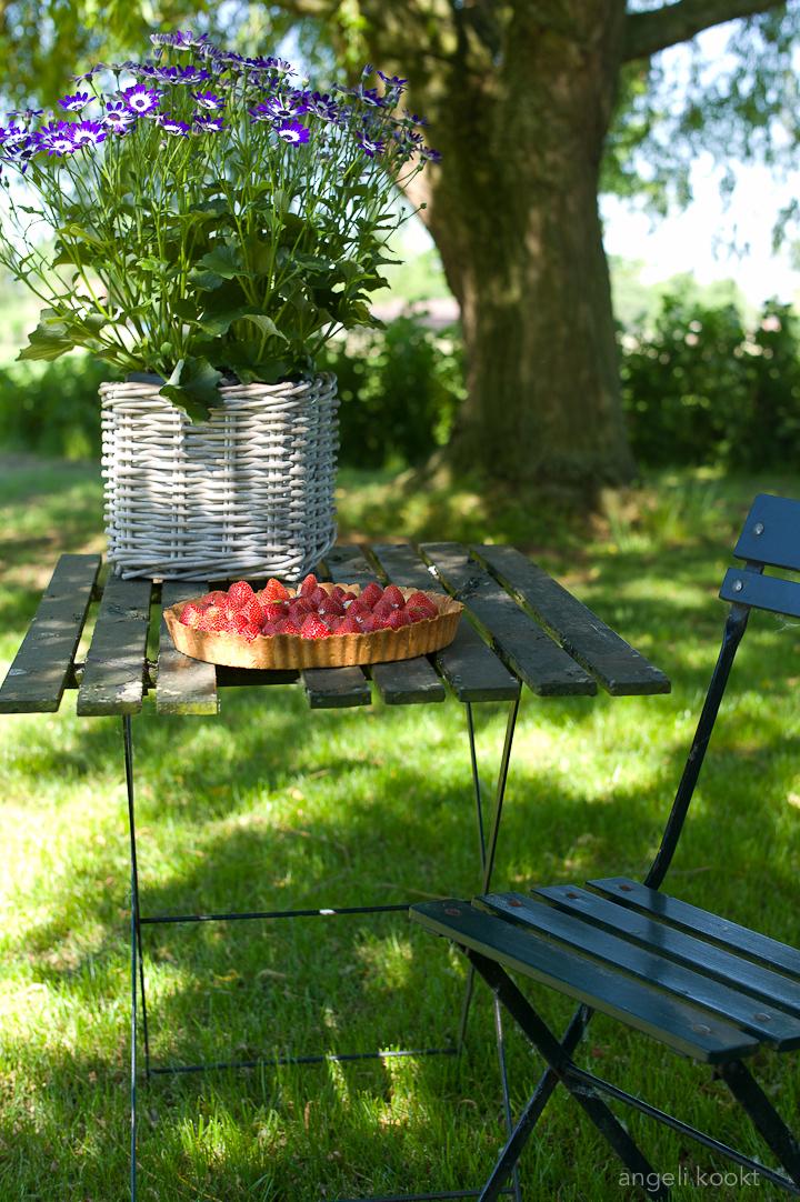 Aardbeienvlaai met pistachecustard
